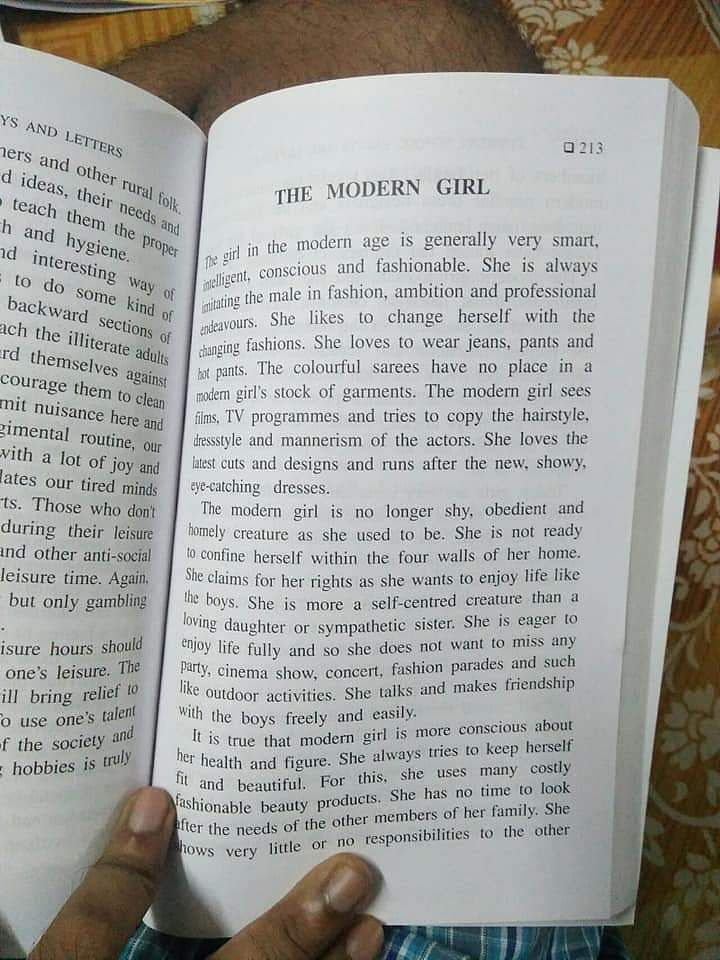 This essay book says a 'modern girl' is 'self-centred & only cares ...