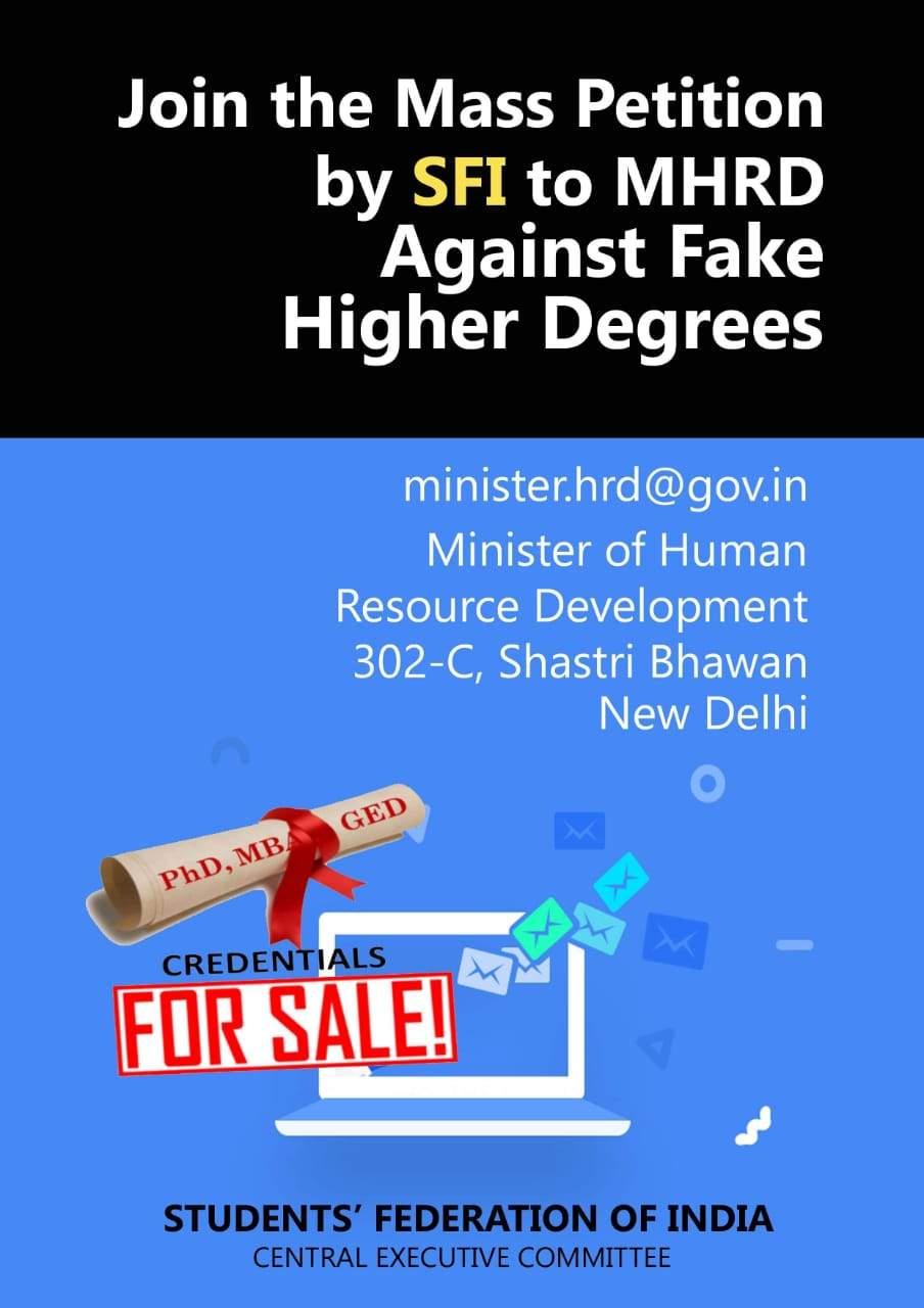 SFI writes to MHRD and pulls the plug on fake universities