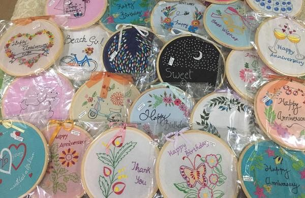 The women are taught the art of embroidery and making embroidered hoops