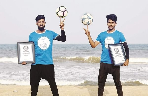 Pradeep Ramesh and Raghul Raja, Chennai-based freestyle footballers recently became Guinness World Record holders | Pics: Martin Louis