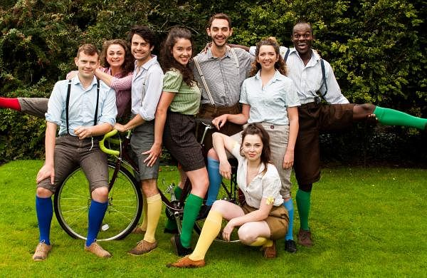 The troupe performs Shakespearean plays by carrying their props and costumes on their bicycles