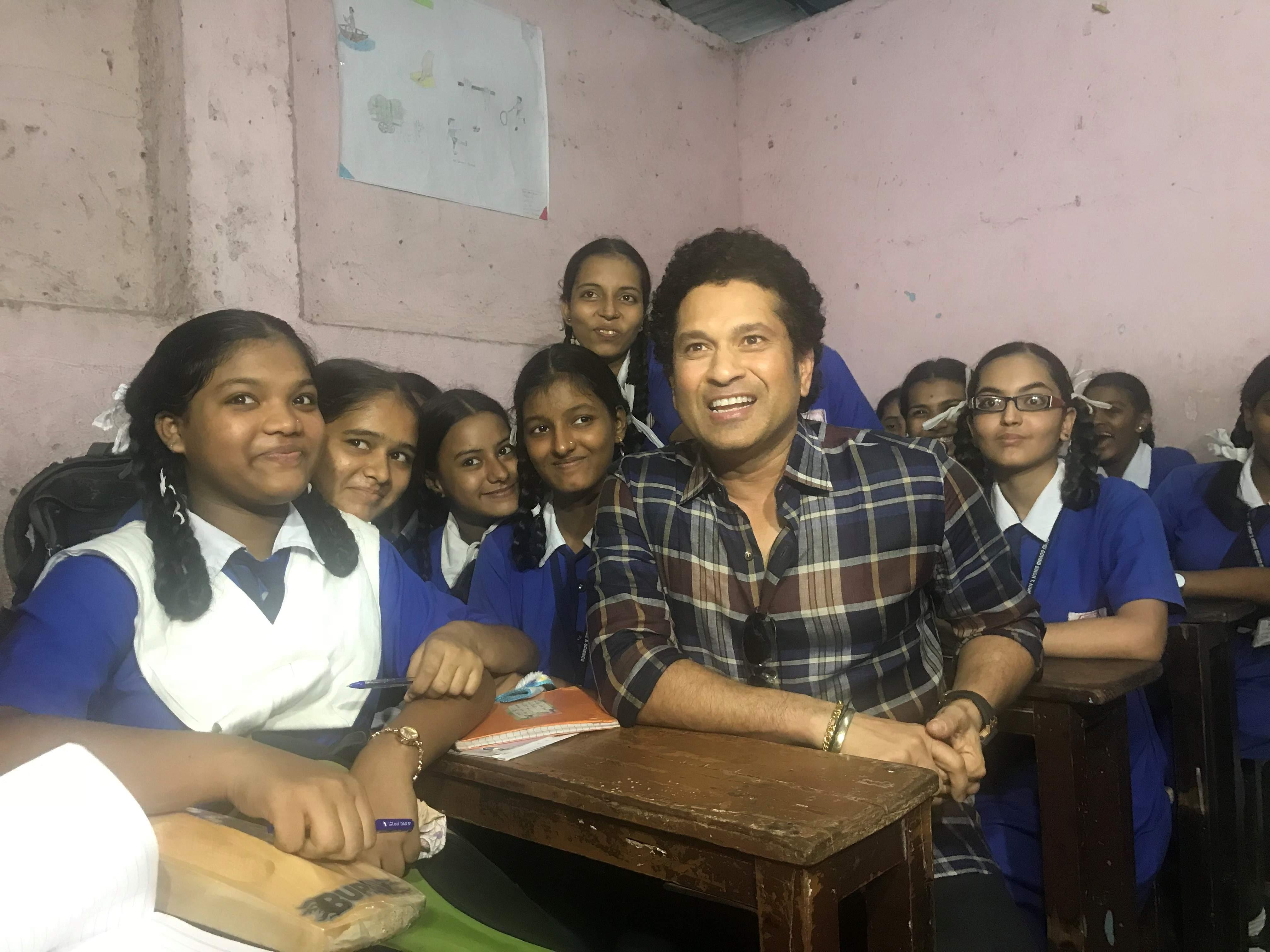 Image result for Sachin Tendulkar visits school in Mumbai