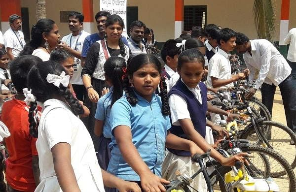 Thanks to his passion, 220 cycles have been distributed between the students of Seegehalli Govt School and Dommasandra Govt School