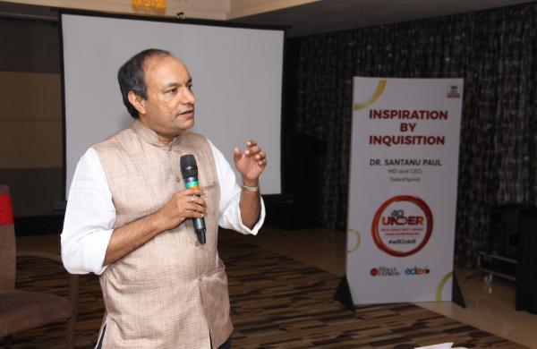 TalentSprint CEO Santanu Paul speaks at the TNIE Edex 40 under 40 start-up Summit in Hyderabad