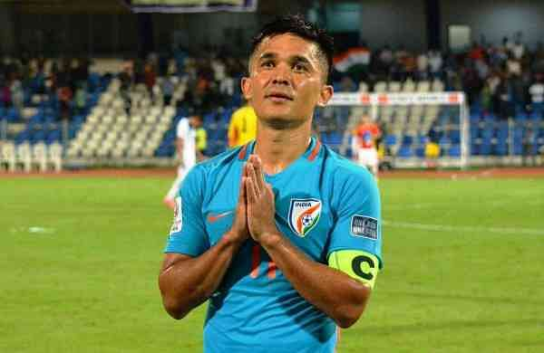 Sunil Chhetri thanking the fans after the match against Kenya