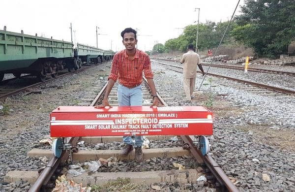 Team leader K Naushad Saheb posing with the rail fault detection