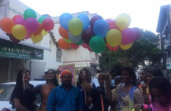 The activist group at Sahodaran released colourful balloons following the panel discussion