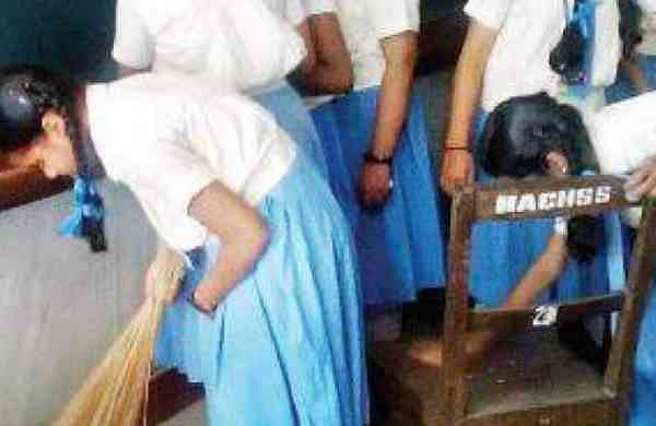 Students Cleaning school