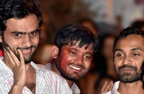 JNU student Umar Khalid, Kanhaiya Kumar and Anirban Bhattacharya