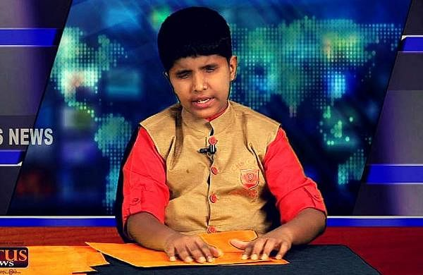 Sriramanujam T used braille scripts to read the news (Pic: Lotus News)