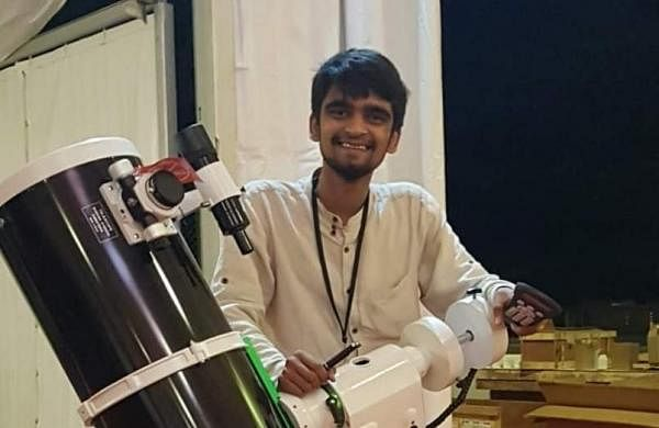 Aryan Mishra with a telescope at one of their labs| Pic: Aryan