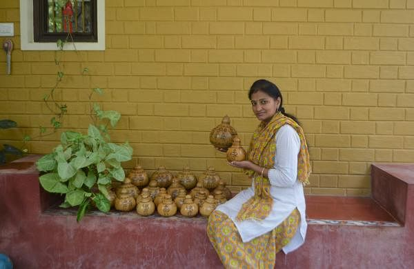 Seema Prasad has made containers from bottle gourds which can be used in kitchen (Pic: Seema Prasad)