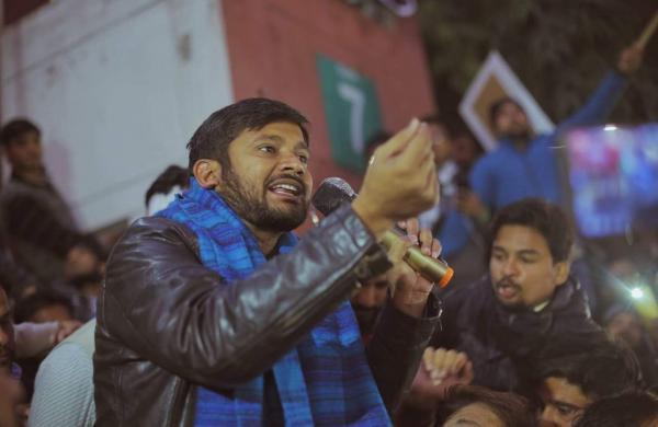 Kanhaiya at the protest