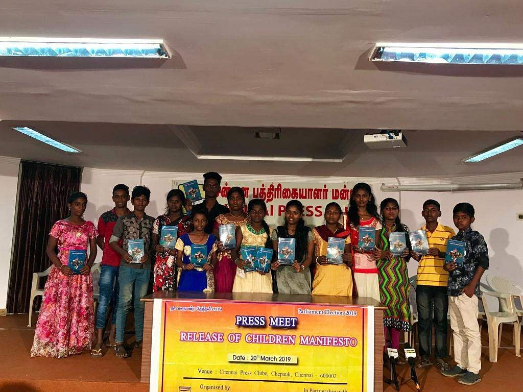 children released the manifesto at the Chennai Press