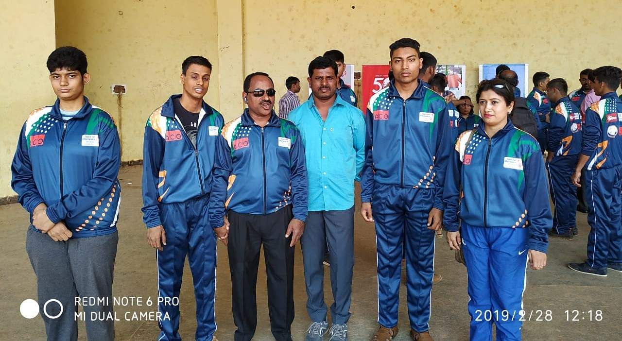 Veena HV (starting left) Sushantho Bose and Mallappa Rajgolkar (second right) along with their trainers at Delhi preparing for the Special Olympics World Game Abu Dhabi 2019