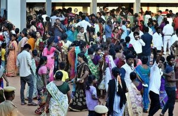 People at a voting booth in Chennai (Pic: TNIE)