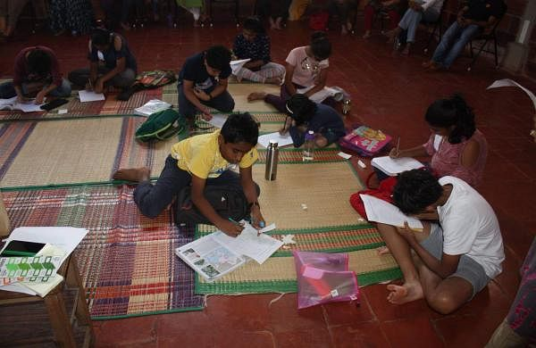 Children completing their assignments during the workshop (Pic: The Teachers Collective)