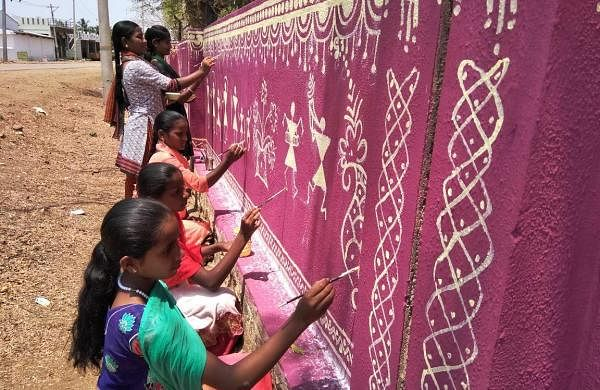 School Students Painting on Walls