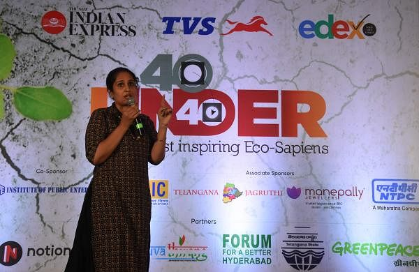 Kaajal Maheshwari speaking at Edex's 40 under 40 eco-conclave (Pic: TNIE)