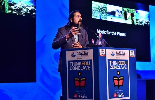 Ricky Kej speaking at the ThinkEdu Conclave| Pic: Jawahar P