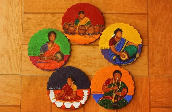Coasters painted by Aditi as part of her Off Beat but In Tune series (Pics: Aditi Maithreya)