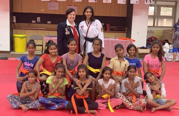 Rayna Singh with her the girls she's teaching taekwondo to (Pics: Amar Singh)