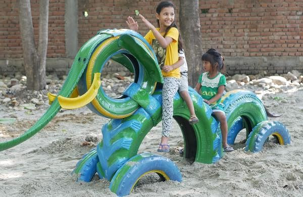 A tyre elephant at an Anthill Playground | Pics: Anthill Creations