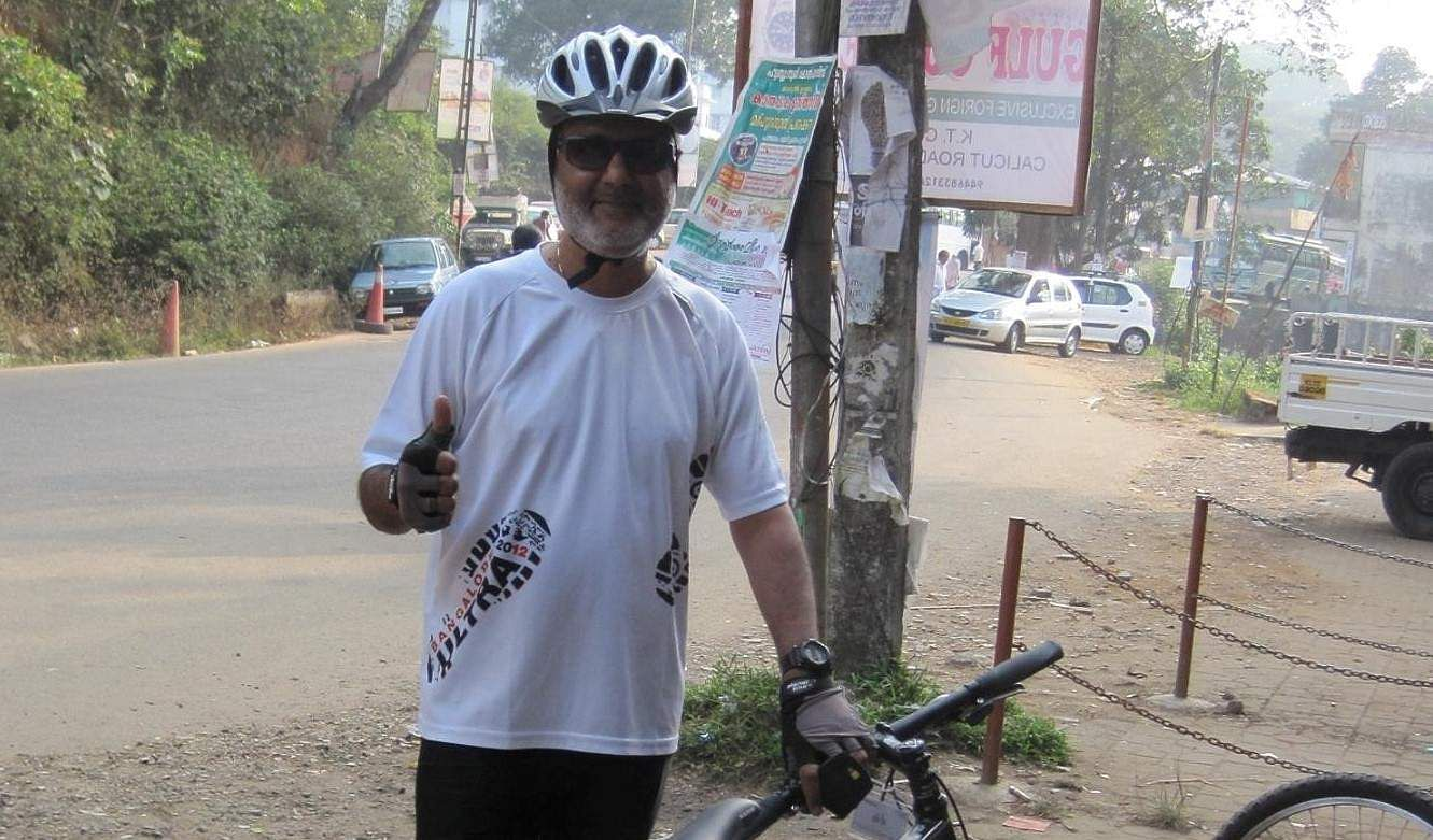 G K Murali cycled to raise funds for his initiative