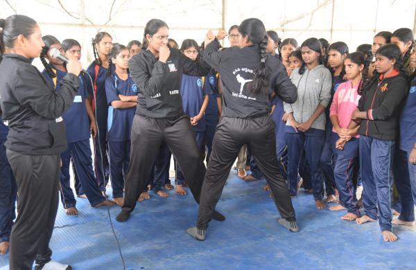 Self-Defense training for students at Adugodi Government School (Pics: Nagaraja Gadekal)