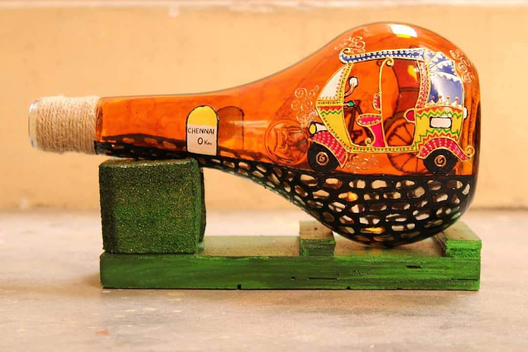 This Chennai Artist Is Upcycling Glass Bottles Found In Junkyards Into Awesome Lamps Check It Out Edexlive