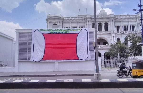 The cloth mask banner outside Rippon Building| Pic: ICWO