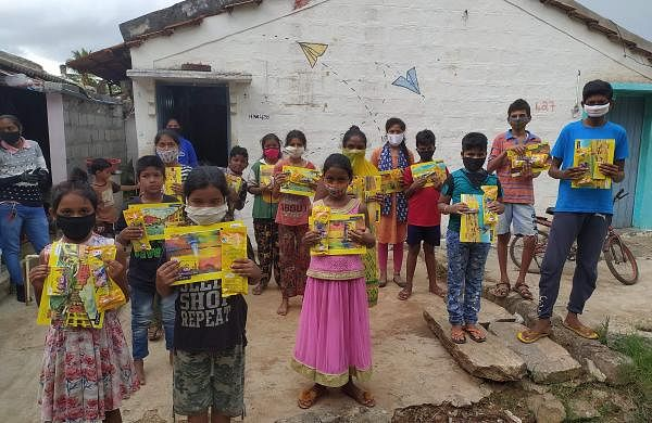 Book kits distributed to kids by Buguri Community Library (Pics: Buguri Library)