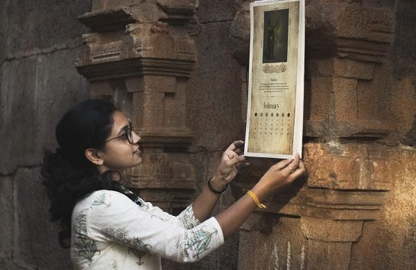 Prathiusha Saravanan with the 2021 calendar | Pic: Saayal