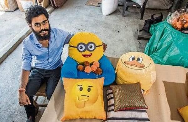 Naman Gupta with the soft toys made from cigarette butts | Pic: Code