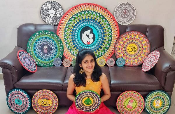 Shikhi Bhat with all her mandala paintings (Pictures:  Shikhi  Bhat)