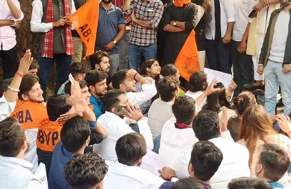 ABVP students during the protest